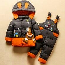 цена на Children Snowsuit Baby Boys Girls 2-4Y Winter Warm Duck Down Jacket Suit Set Thick Coat+Jumpsuit Clothes Set Kids Snow Wear