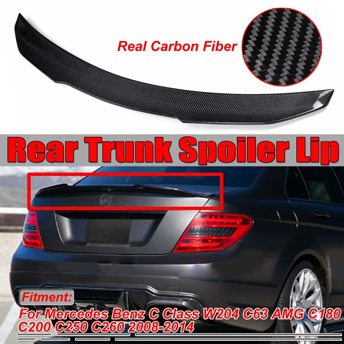 PSM <font><b>W204</b></font> Real Carbon Fiber Car Rear Trunk Boot Lip <font><b>Spoiler</b></font> Wing Lid For <font><b>Mercedes</b></font> For <font><b>Benz</b></font> <font><b>C</b></font> <font><b>Class</b></font> <font><b>W204</b></font> C63 For AMG 2008-2014 image