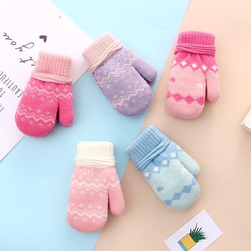3-6Y Warm Winter Children Gloves Rope Printed Knitted Gloves For Girls Fingeless Mitten Outdoor Hanging Neck Toddler Kids Gloves
