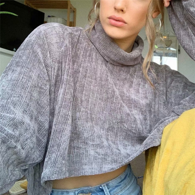 Crop top Blouse with turtleneck in gray