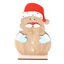 Christmas Wooden Santa Claus Ornament Home New Year Holiday Festival Party Xmas Table Desktop Decor Craft