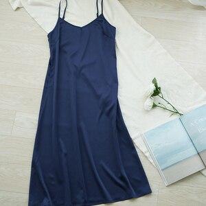 High quality women dress Summer spaghetti satin long dress very soft smooth M30262(China)