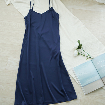 Vestido largo de satén Espagueti de verano para mujer de alta calidad vestido muy suave y liso M30262