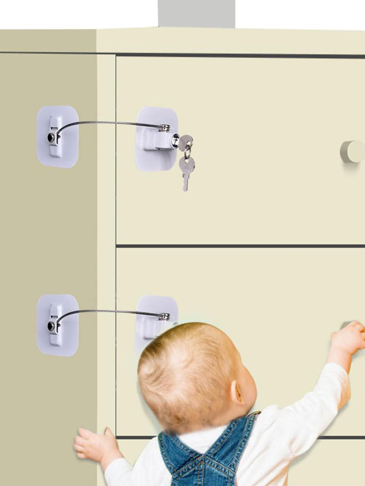 Child Safety Lock Window Refrigerator Limit Lock Drawer Door Secur Refrigerator Key Lock Safety Protection Prevent Fall