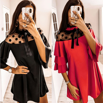 2020 Sexy Mesh Polka Dot See Through Ruffled Turtleneck Butterfly Sleeve Women Dress Sexy Dress Women Party Night 1