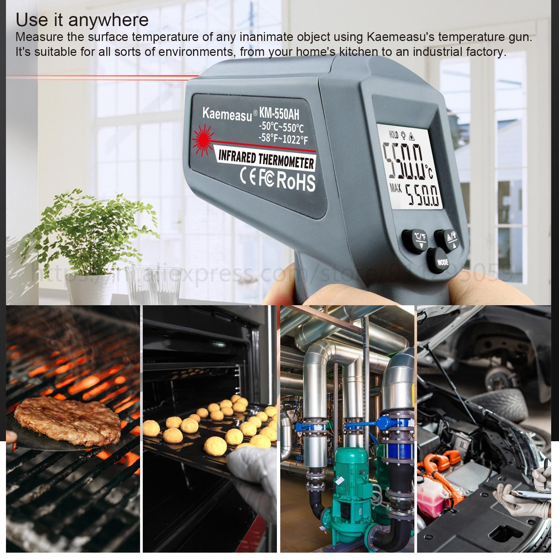 Kaemeasu Digitale Infrarood Thermometer -50 ~ 1600 Meetbereik, Non-contact, Veiligheid, Koken, industriële Elektronische Thermometer Pistool 5