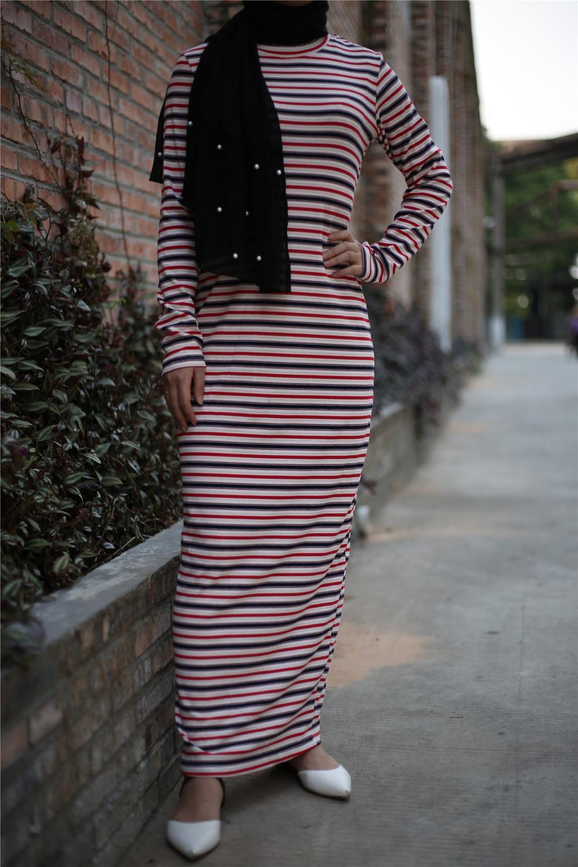 Muslim Striped Abaya Maxi Dress Bat Sleeve Cardigan Loose Full Kimono Long Robe Gowns Jubah Middle East Ramadan Arab Islamic