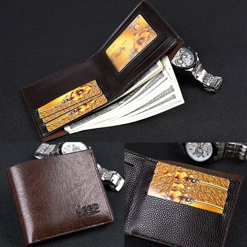 Fashion Men/'s Genuine Leather Bifold Wallet Credit//ID Card Holder Slim Purse Bag