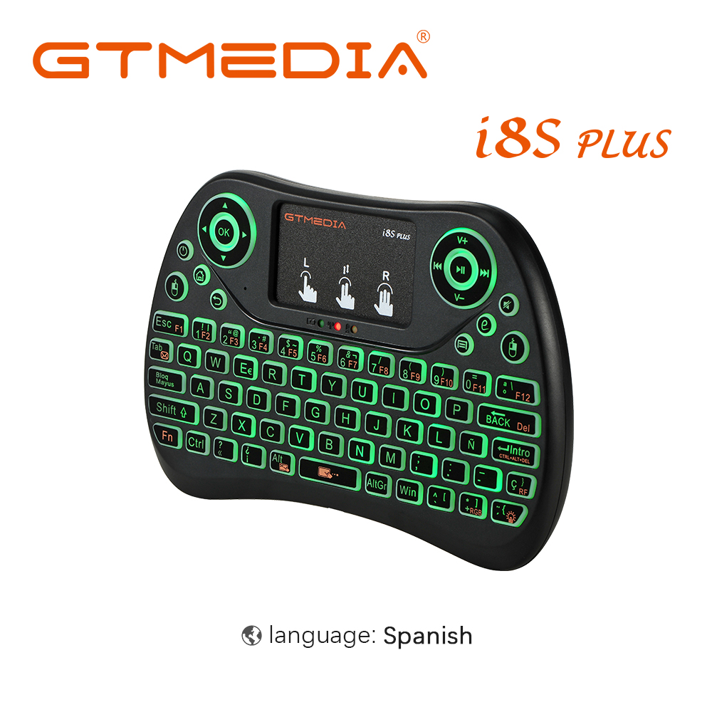 GTMEDIA Backlight I8S Plus i8 Spanish 2.4GHz Wireless Mini Keyboard Air Mouse Touchpad Controller for Android TV BOX Smart Phone volemer i7 s8 tws earbuds wireless bluetooth earphone sports headest with portable 2000 mah charging box for ios android phone