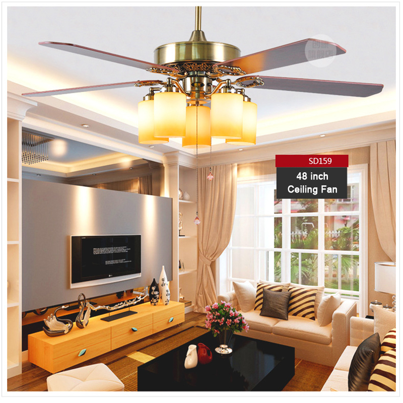 Restaurant Retro Wooden Blade Fan Electric Hand Fan Iron Leaf Vintage Ceiling Fan with Light Small Air Conditioning Appliances