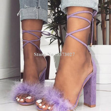 Women New Purple Fur Chunky Heel Sandals Fashion Design Lace-up Cross-tied Gladi