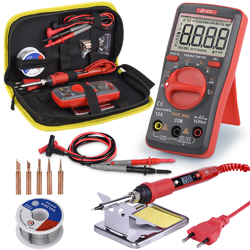 JCD Soldering Iron With USB Charging Digital Multimeter Kit Adjustable Temperature Auto Ranging AC/DC Tester Multimetro UM16
