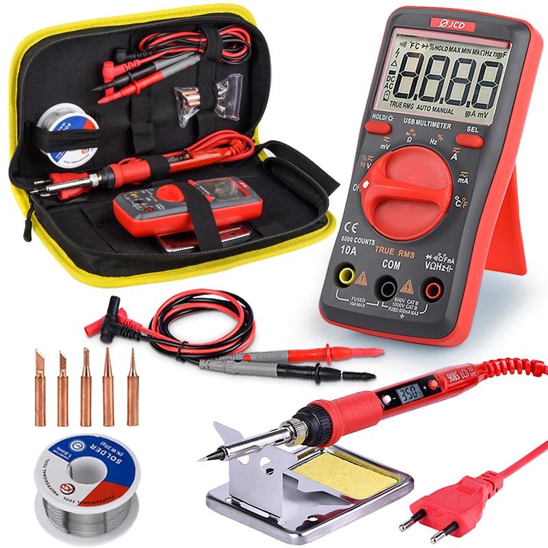 JCD Soldering Iron With USB Charging Digital Multimeter Kit Adjustable Temperature Auto Ranging AC/DC Tester Multimetro UM16