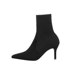 Image 3 - Botas de calcetín de Invierno para mujer, botines elásticos de punto Sexy, zapatos de tacón alto a rayas, botines de otoño 2019