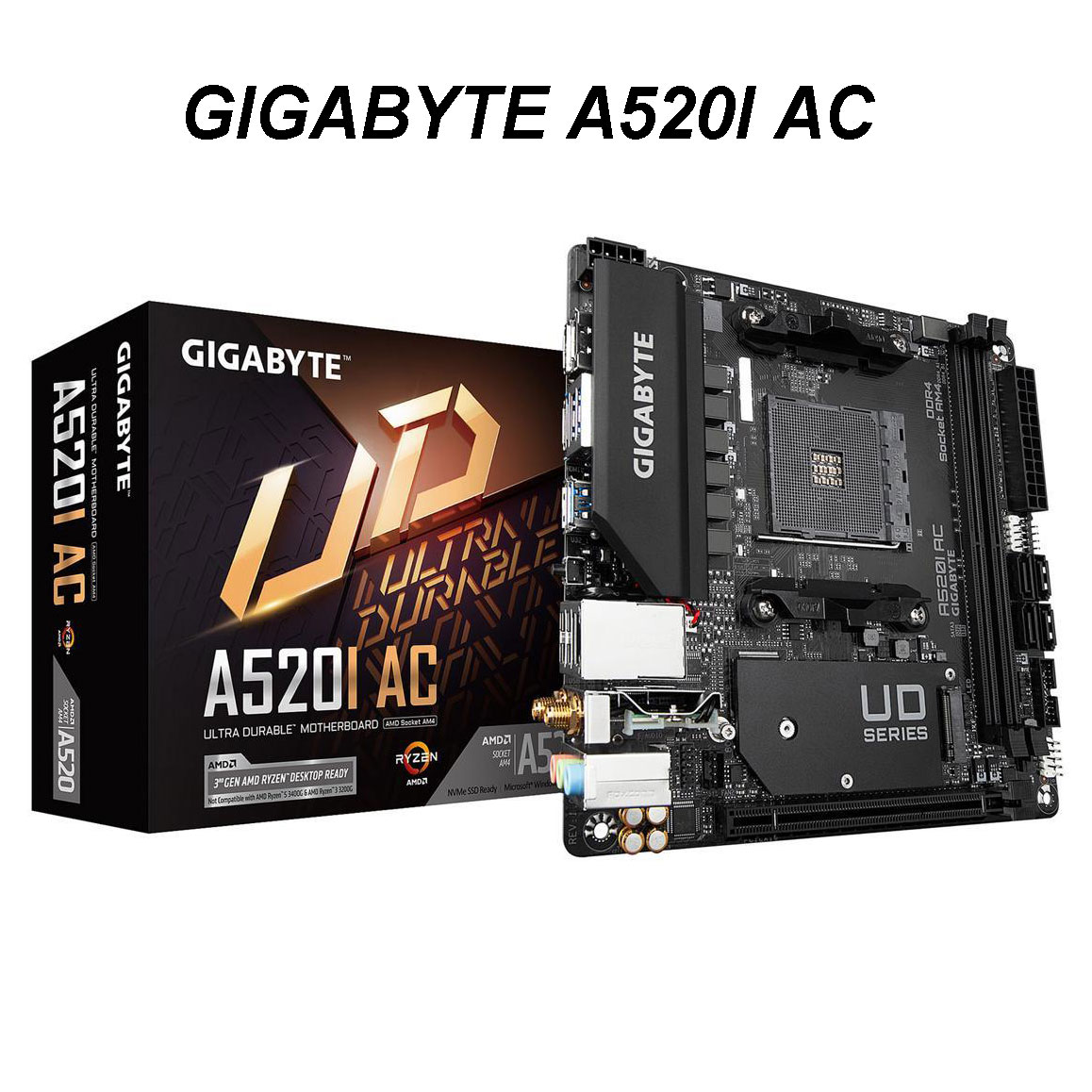 Gigabyte a520i ac placa-mãe mitx am4 nvme pcie 3.0x4 m.2, 3 interfaces de exibição, q-flash plus, fusão rgb 2.0