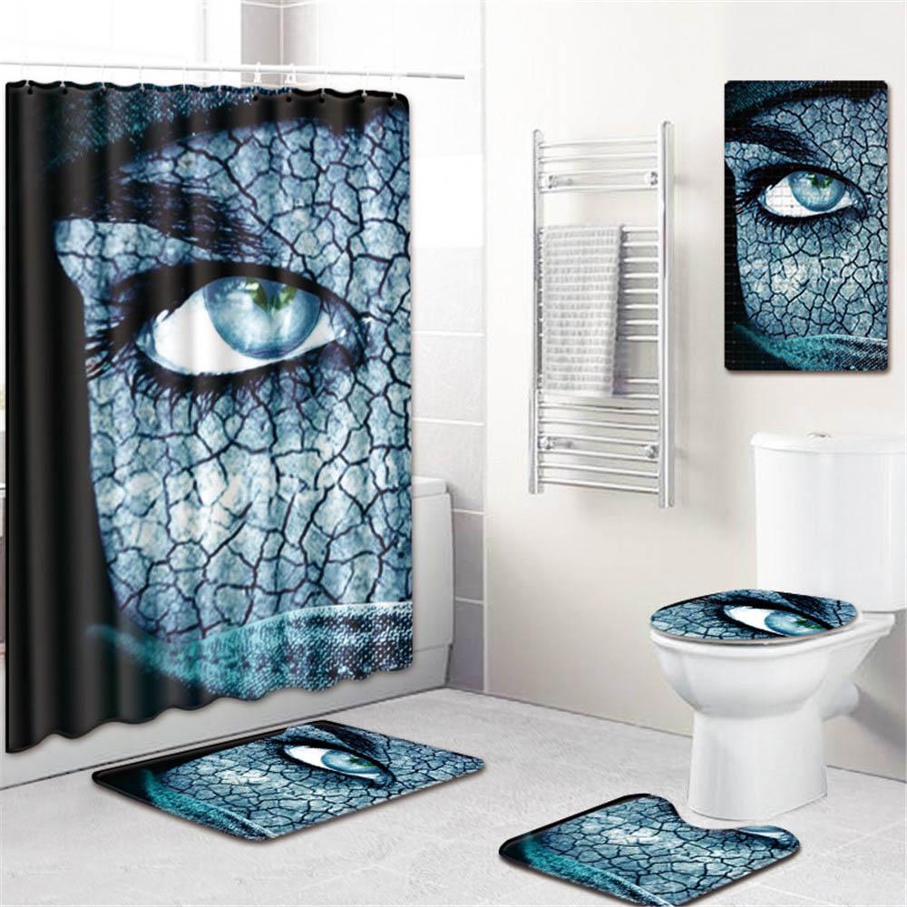 5 шт./компл. 3D занавески для душа с принтом набор водонепроницаемая ткань из полиэстера занавес для ванной комнаты ПВХ Противоскользящий коврик для ванной ковер для украшения дома