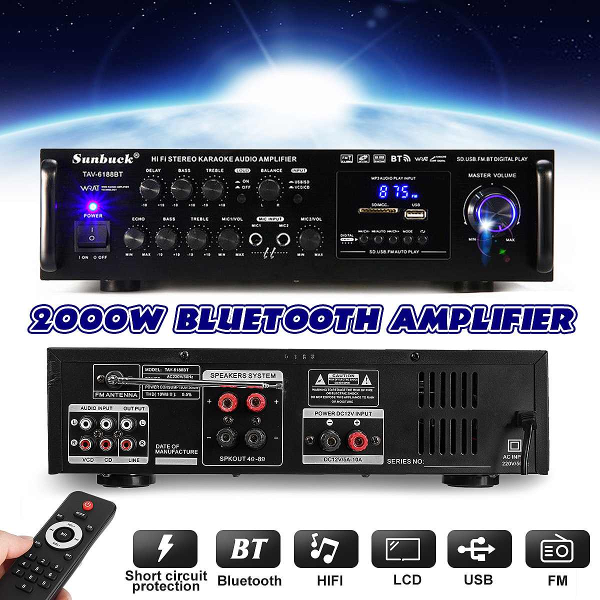 Powerful 2000W 110V 220V Bluetooth 4ohm Stereo Audio Power HiFi Amplifier Karaoke Amplifier+RC Support 2 MIC FM Power Amplifier