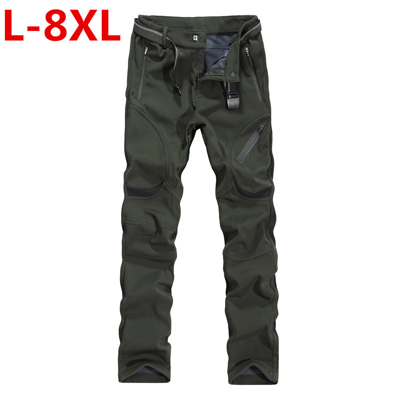 Mens Winter Pant Thick Warm Cargo Pants Casual Outwear Pockets Trousers Plus Size 9XL8XL Fashion Loose Baggy Pant For Worker Men