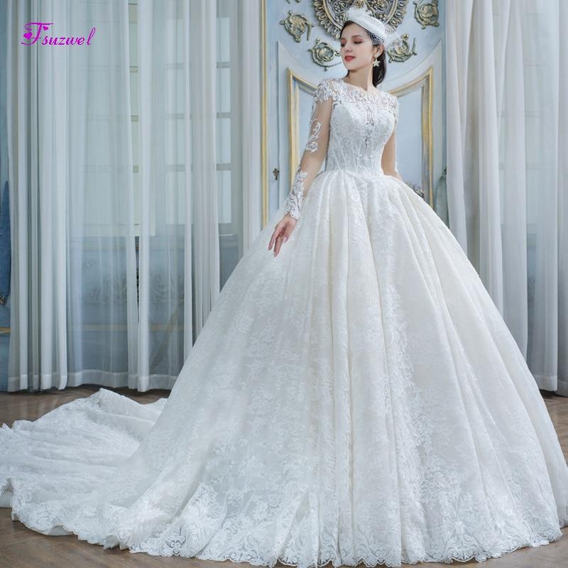 Fsuzwel Charming Scoop Neck Long Sleeve Ball Gown Wedding Dresses 2019 Gorgeous Lace Appliques Court Train Princess Bridal Gown