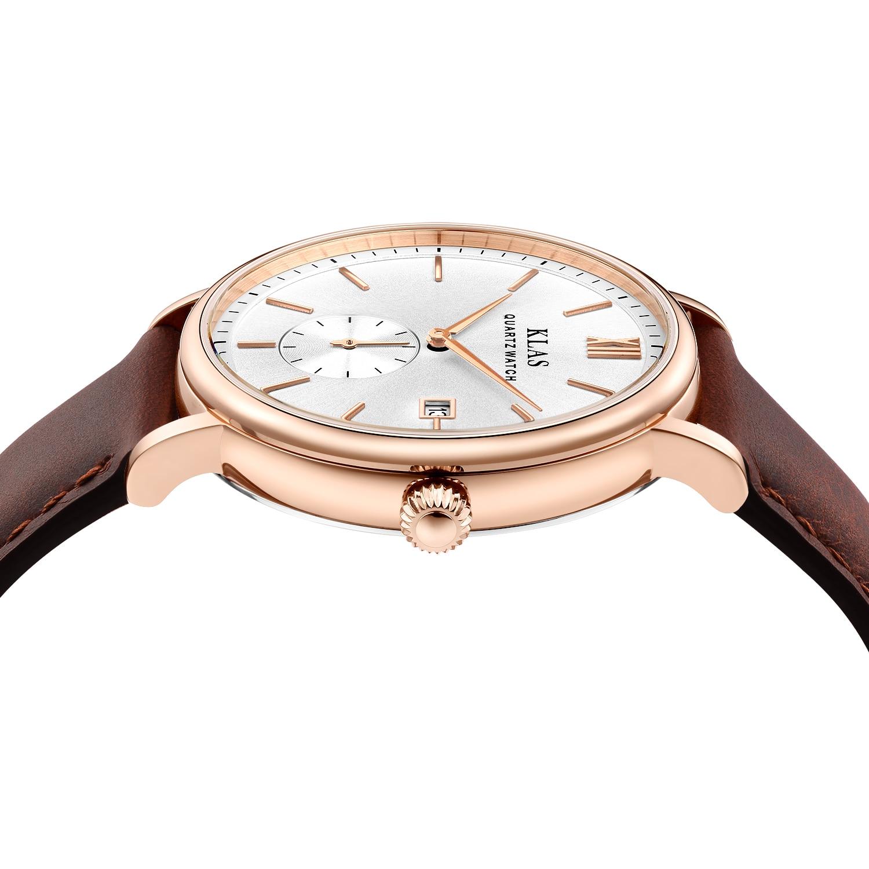 Klas casual couro cinto relógio de quartzo