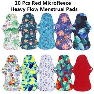 Image 3 - [Simfamily] 10 pçs orgânico bambu carvão lavável higiene almofadas menstruais fluxo pesado almofadas sanitárias senhora almofada de pano almofadas reutilizáveis