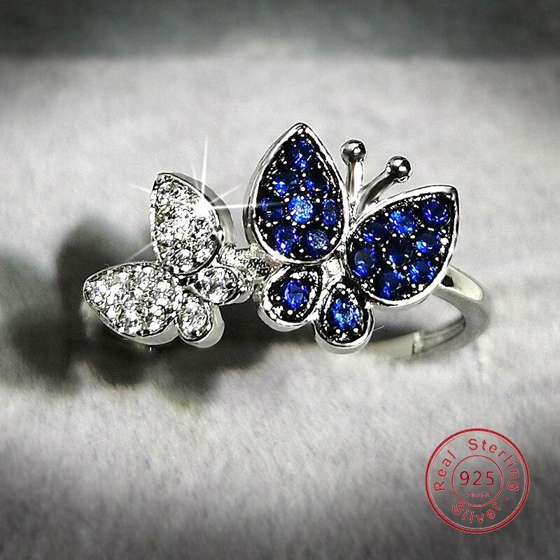 Женское кольцо с сапфировым кристаллом, роскошное блестящее кольцо с бабочкой из стерлингового серебра 925 пробы, Коктейльные Свадебные веч...