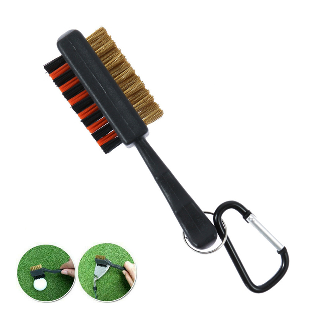Golf Club Cleaner Brush Nylon Brass Groove Cleaner Dual-Bristle 4.92inch For Outdoor Golf Stuff 1Pc With Carabiner