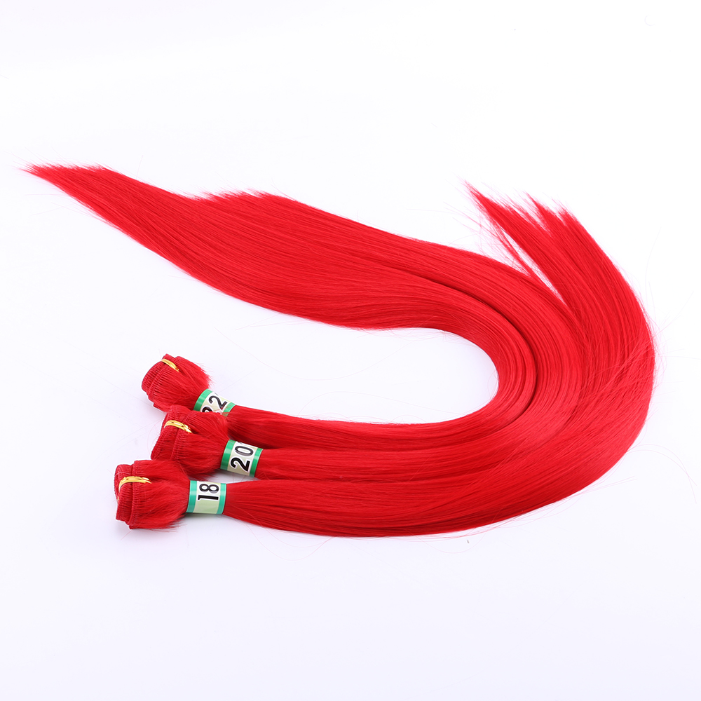 Red Straigth Hair Weave High Temperature Synthetic Hair Extension Double Machine Weft Hair Bundle For Women