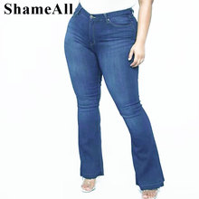 Большие размеры темно-синие стрейч обтягивающие расклешенные джинсы 3XL 2XL женские широкие облегающие бедра длинные джинсовые брюки повседневные брюки