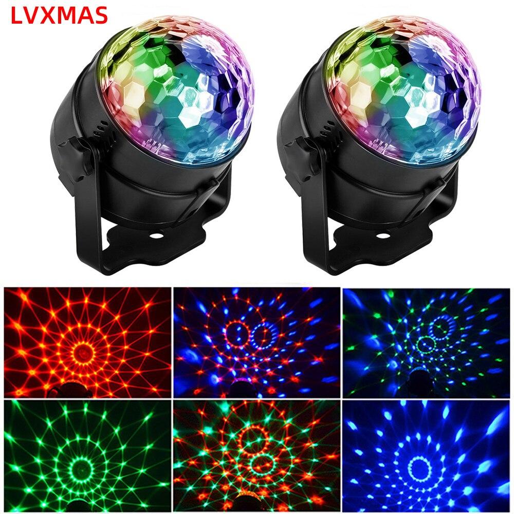 Сценический светильник с RGB-шариком, 5 Вт, светодиодный лазерный проектор с активацией звуком, лампа для рождественской вечеринки, яркие под...