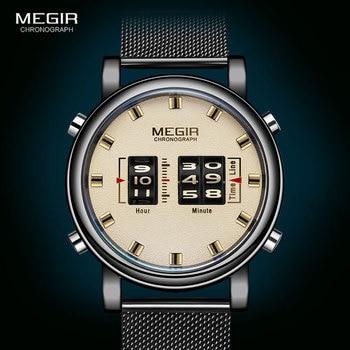 цена MEGIR 2020 New Luxury Watches Men Military Sport Roller Pointer Quartz Watch Man Fashion Stainless Steel Mesh Strap Wristwatch онлайн в 2017 году