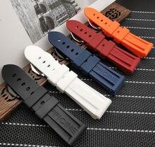 Ремешок силиконовый для часов Panerai, резиновый водонепроницаемый браслет для наручных часов, 22 мм 24 мм 26 мм, черный синий красный оранжевый бе...