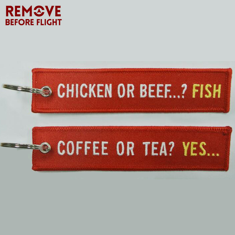 Coffee or YES Keychains for Cars Embroidery Chicken or Beef Fish Key Chain Bijoux Gifts Tag Porte Clef Aviation Key Chains (2)