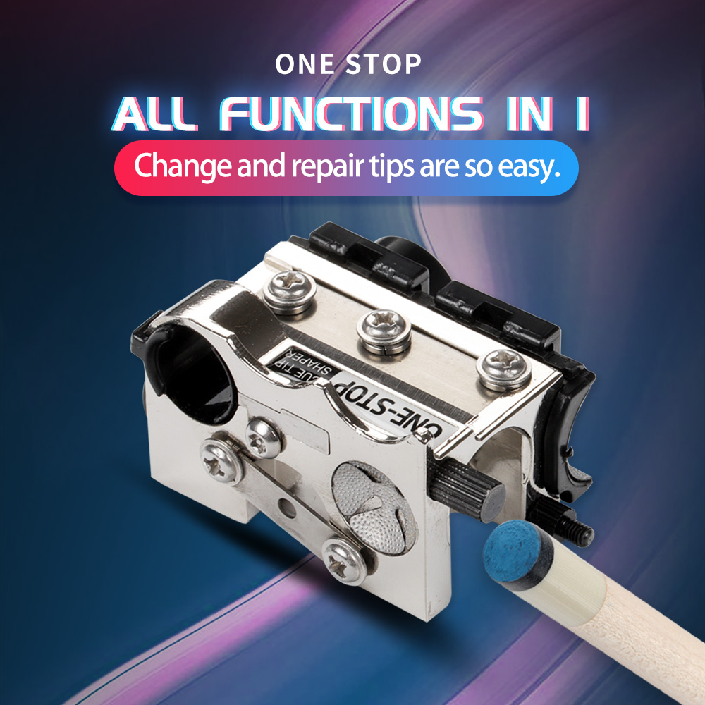 ONE STOP All Functions In 1 Billiard Tip Tool Suit Pool Tip Repair Shaper Change Tip Cue Tip Replacement Billiard Accessories