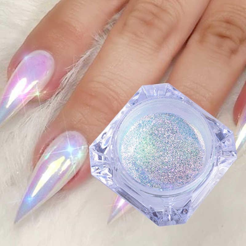 0.1G Hologram Susuk Bubuk Glitter Warna Pelangi Neon Efek Nail Art Serpihan Dekorasi Chrome Kuku Debu Tips Manikur SA354