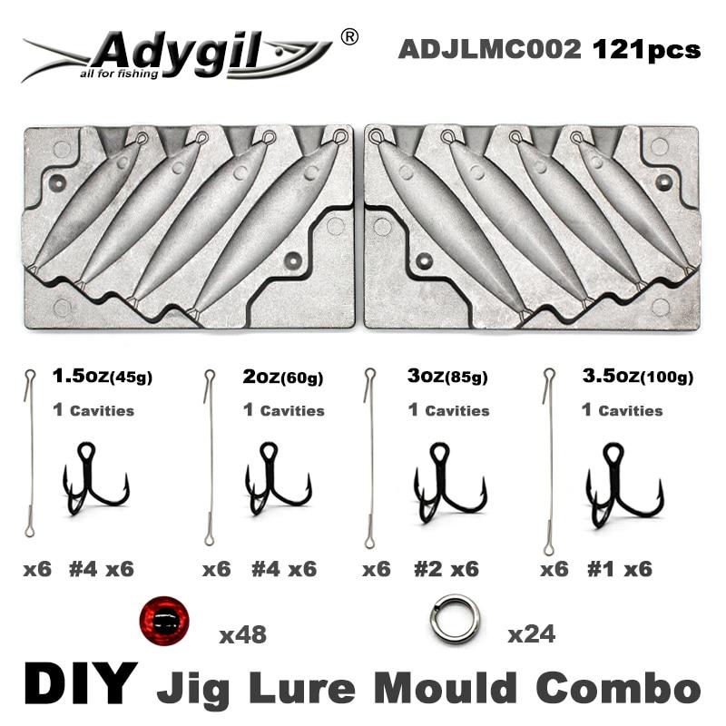 Adygil DIY Рыбалка 121 шт. джиг приманка форма комбо 45 г 60 г 80 г 100 г 4 полости|Рыболовные снасти|   | АлиЭкспресс