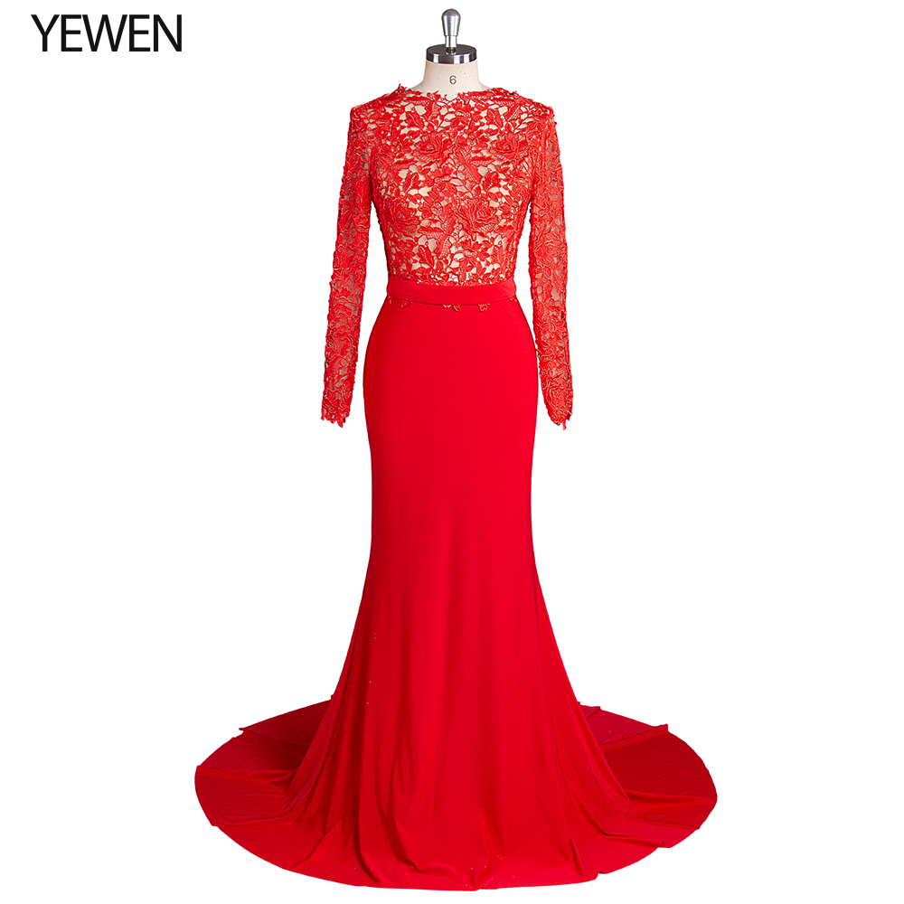 Red Evening Dresses Stretch Asymmetrical Double Sweetheart Long Sleeves Sexy Mermaid Formal Gowns Prom Dress Abendkleider