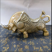 store selling copper money cow metal craft animal sculpture Zhaocai Cai feng shui home decoration(China)