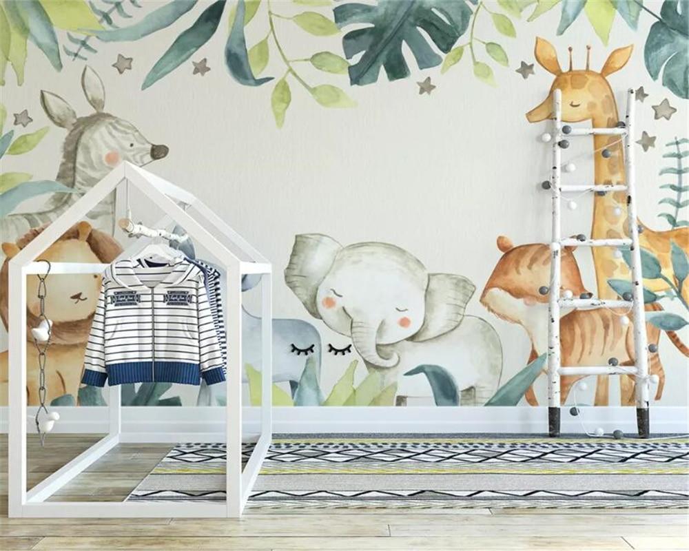 Beibehang Custom Wallpaper Modern Cartoon Animal Elephant Lion Giraffe Watercolor Plant Children's Room Background 3d Wallpaper