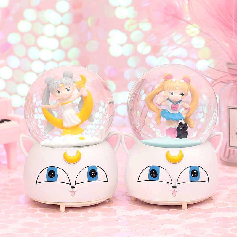 10*15.8cm Sailor Moon Crystal Snow Globes Glass Music Box snowball Home Office INterior Decoration Christmas Valentine Day Gifts