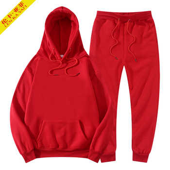 winter hoodies suits men fashion Fleece red hoodie black Brand pants Casual Jogger suit tracksuit sweatshirt woman pullover 1