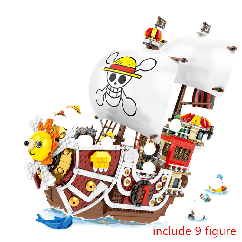 ONE PIECE Luffy Thousand Sunny statek piracki zestaw klocków budowlanych klocki klasyczny film Model dla dzieci zabawki dla dzieci prezent