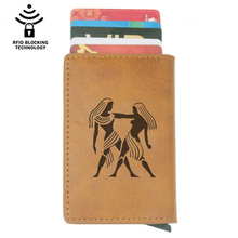 Fashion Classic 12 Constellation Gemini Rfid Card Holder Men Wallets Brown Vintage Short Purse Leather Slim Mini Wallet