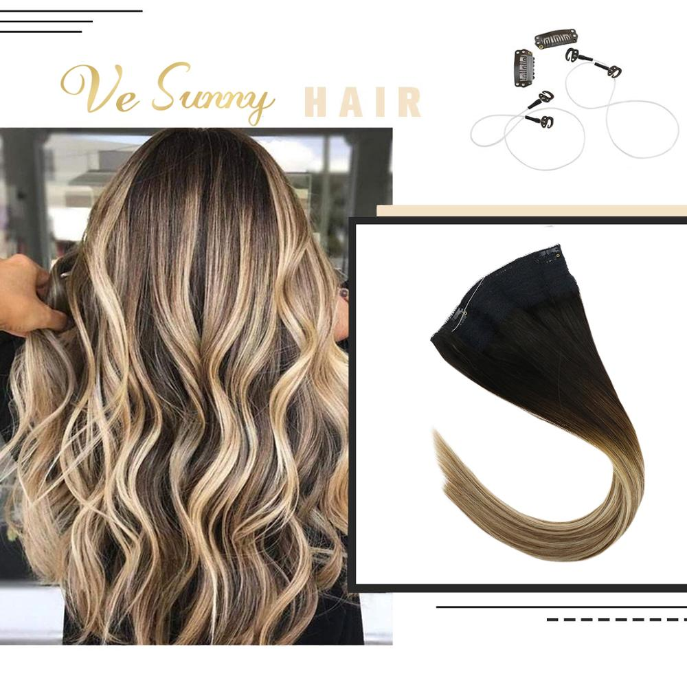 VeSunny Invisible Halo Hair Extensions Real Human Hair Flip in Fishing Wire with Clips on Balayage Brown mix Blonde #2/6/24