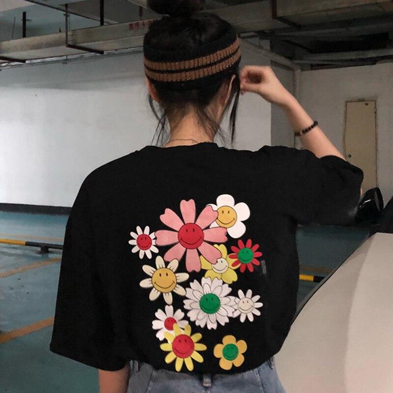 Весенне летняя свободная серая футболка с цветочным принтом, милая свободная футболка с серым подсолнухом и смайликом для женщин|Футболки|   - AliExpress