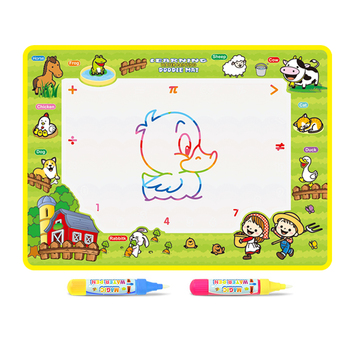 4 Types Animal Theme Magic Water Drawing Mat & 2 Pens Children Painting Board Doodle Rug Early Educational Toy Kid Birthday Gift kid water drawing mat doodle board