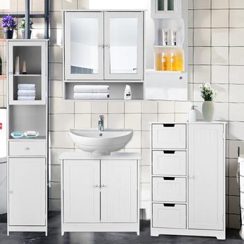 IKayaa podłoga szafka łazienkowa pod wielofunkcyjnym zlewem szafka do przechowywania metalu przechowywanie z drzwiami meble łazienkowe tanie i dobre opinie CN (pochodzenie) Nowoczesny chiński Szafka do pokoju dziennego meble do domu Nowoczesne 1 (włącznie)-5 (włącznie)