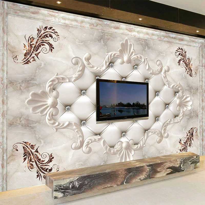 Custom 3D Wallpaper European Style Soft Roll Marble Photo Wall Murals Living Room TV Sofa Bedroom Background Wall Papers Fresco