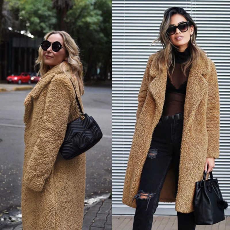 Casaco feminino 2019 europeu e americano moda de rua roupas femininas outono inverno nova lã pura engrossado gola alta blusão