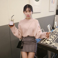 Sweater Suit Women 2019 Autumn Winter New Pink Loose Sweater + High Waist Houndstooth Package Hips Skirt Two Piece Set